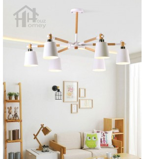 HH Colour-Pop 6-Light Metal & Rubber Wood Macaron Pendant with Metal Dome Shade