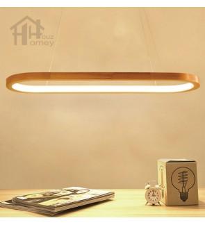 HH Minimalist Integrated LED Rubber Wood Pendant with Frosted Acrylic Shade