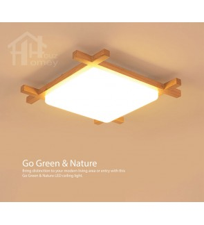 HH Natura Integrated LED Rubber Wood Square Ceiling Flushmount