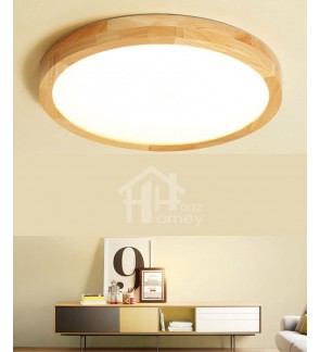 HH Natura Integrated LED Rubber Wood Circle Ceiling Flushmount