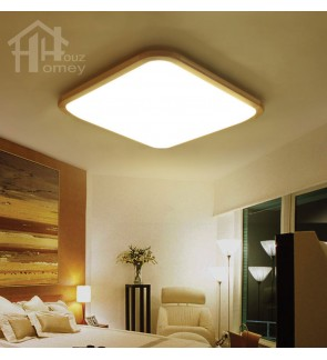 HH Natura Integrated LED Rubber Wood Fillet Square Ceiling Flushmount
