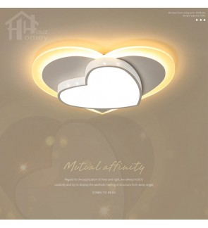 HH Colour-Pop Integrated LED Heart-Shaped Ceiling Flushmount