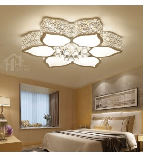 HH Classical Integrated LED White Metal Lotus Ceiling Flushmount