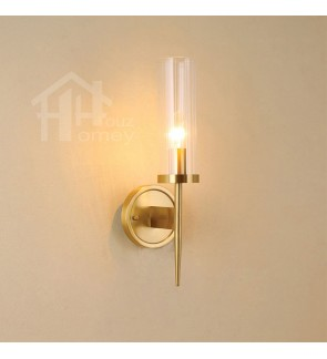 HH Classical 1-Light Bronze Colour Wall Light with Striped Glass Shade