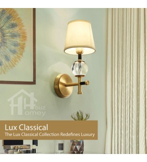 HH Classical 1-Light Gold Colour Wall Light with Crystalline Ball Accents