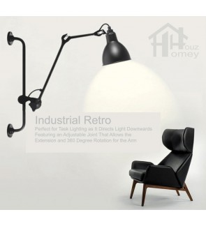 HH Retro 1-Light Black Metal Swing Arm Wall Light with Metal Dome Shade