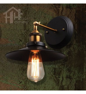 HH Retro 1-Light Adjustable Black Metal Wall Light with Black Metal Shade