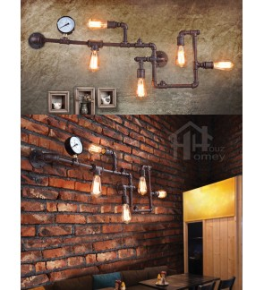 HH Retro 5-Light Steampunk Pipe Wall Light