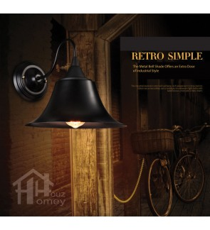 HH Retro 1-Light Black Gooseneck Bell Wall Light
