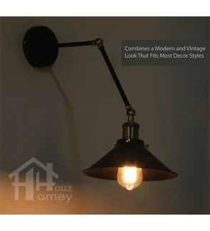 HH Retro 1-Light Black Metal Swing Arm Wall Light with Black Metal Trumpet Shade