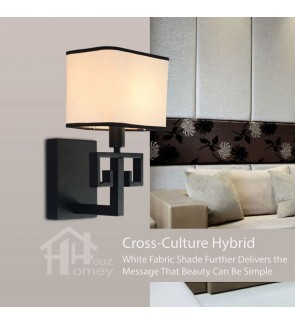 HH Asian-Zen 1-Light Black Metal Wall Light with White Fabric Shade