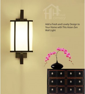 HH Asian-Zen 1-Light Black Metal Wall Light with White Fabric Cuboid Shade