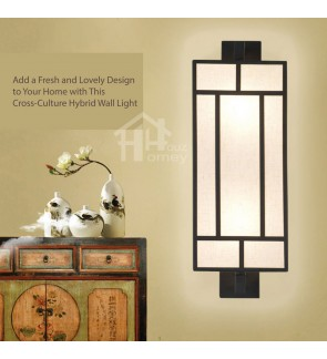 HH Asian-Zen 2-Light Black Metal Wall Light with White Fabric Cuboid Shade