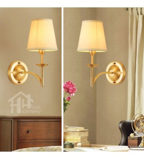 HH Metallic 1-Light Brass Wall Light with White Fabric Cone Shade