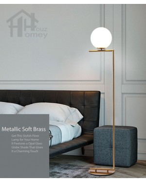 HH Metallic 1-Light Gold Colour Floor Lamp with Opal Glass Globe Shade