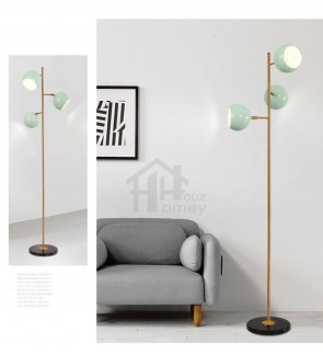 HH Colour-Pop 3-Light Metal Tree Floor Lamp with Mint Geometric Egg Shell Shade