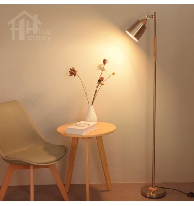 HH Metallic 1-Light Gold Colour Metal Floor Lamp with Gold Colour Cone Shade