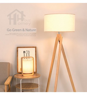 HH Natura 1-Light Rubberwood Tripod Floor Lamp with White Fabric Drum Shade