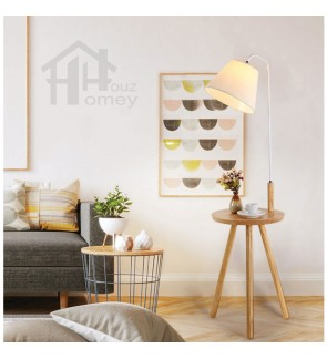 HH Minimalist 1-Light Metal Floor Lamp with Rubberwood End Table and Cone Shade