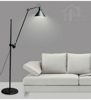 HH Retro 1-Light Black Metal Floor Lamp with Adjustable Arm