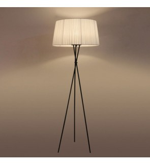 HH Minimalist 1-Light Metal Tripod Floor Lamp with Fabric Tapered Drum Shade