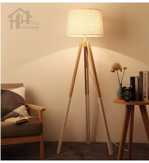 HH Minimalist 1-Light Ash Wooden Floor Lamp with White Fabric Tapered Drum Shade