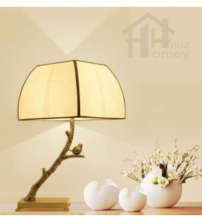 HH Natura 1-Light Light Brown Resin Carved Magpie Table Lamp with Fabric Shade
