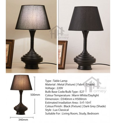HH Classical 1-Light Black Metal Vase Table Lamp with Fabric Tapered Drum Shade