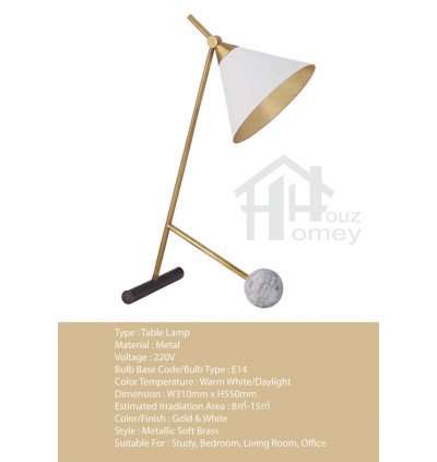 HH Metallic 1-Light Gold Colour Metal Table Lamp with White Metal Cone Shade