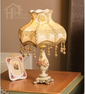 HH Classical 1-Light White Resin Floral Table Lamp with Beaded Fabric Lamp Shade