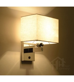 HH Asian-Zen 1-Light Silver Metal Wall Light with White Fabric Shade