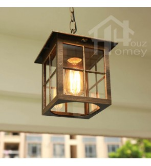HH Metal Ceiling Semi-Flushmount with Cube Glass Shade