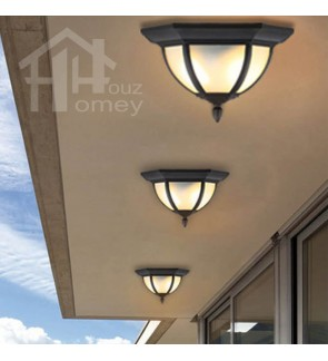 HH Metal Ceiling Flushmount with Frosted Glass Shade