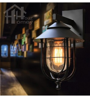 HH 1-Light Metal Outdoor Wall Light with Clear Glass Rounded Cage Shade