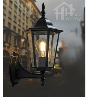 HH 1-Light Metal Outdoor Wall Light with Clear Glass Hexagonal Prism Shade
