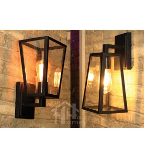 HH 1-Light Metal Outdoor Wall Light with Clear Glass Tall Tapered Square Shade