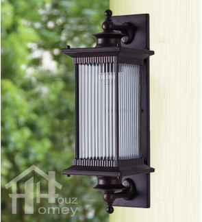 HH Euro Blade 1-Light Black Metal Outdoor Wall Light with Striped Glass Shade