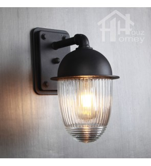 HH Minimal 1-Light Black Metal Outdoor Wall Light with Striped Glass Shade