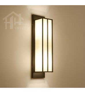 HH Asian-Zen 1-Light Tall Serenity Wall Light with White Fabric Shade