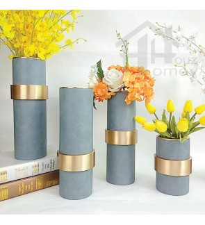 HH Leather Wrapped Metal Planter Pot with Gold Colour Metal Rim