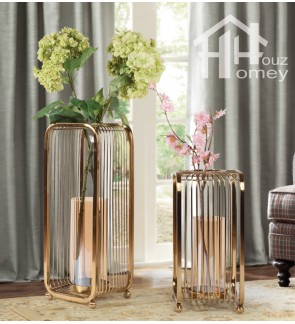 HH Gold Colour Electroplated Metal Iron Railing Planter Pot with Glass Vase