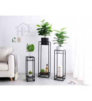 HH Black Metal Double-storey Planter Rack