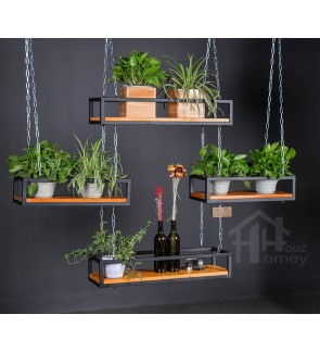 HH Retro Black Metal Hanging Planter Rack