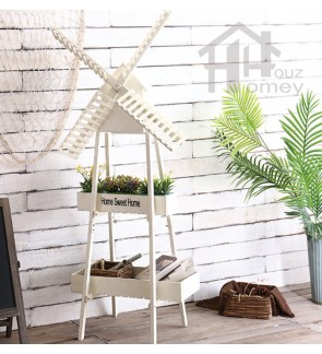 HH Wooden Adjustable Windmill Planter Rack with Planter Pot