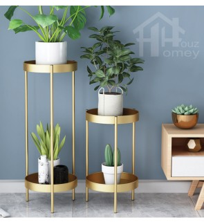 HH Minimalist Nano Gold Colour Double Storey Metal Planter Rack