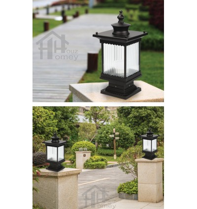 HH Euro Blade 1-Light Black Metal Outdoor Pillar Light with Striped Shade
